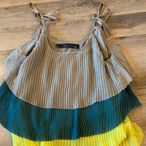 Tan, Teal, Yellow Tiered Blouse